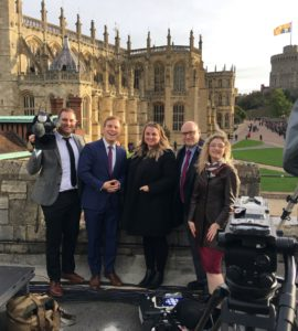 Brenna Engel and news crew at Windsor Castle